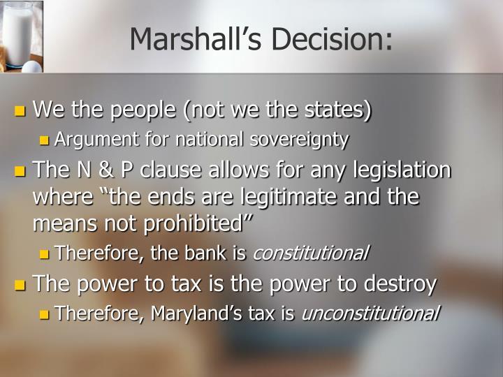 Marshall's Decision: