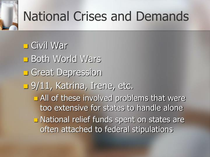 National Crises and Demands
