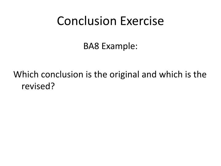 Conclusion Exercise