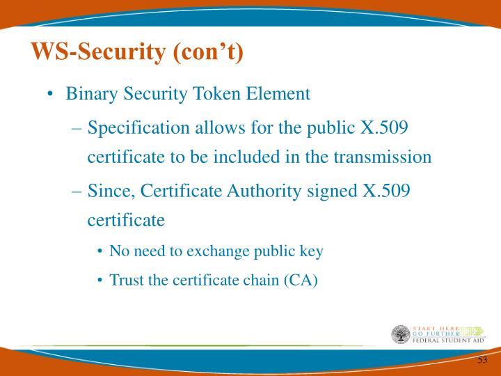 WS-Security (con't)