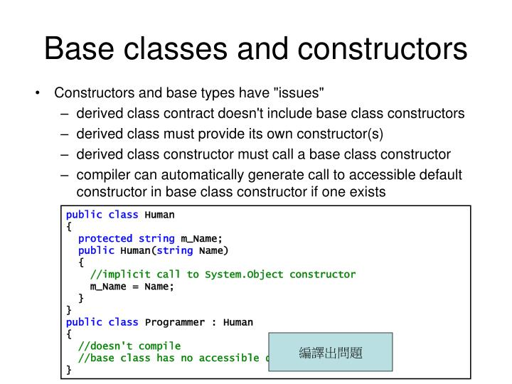 Base classes and constructors