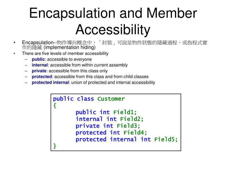 Encapsulation and Member Accessibility