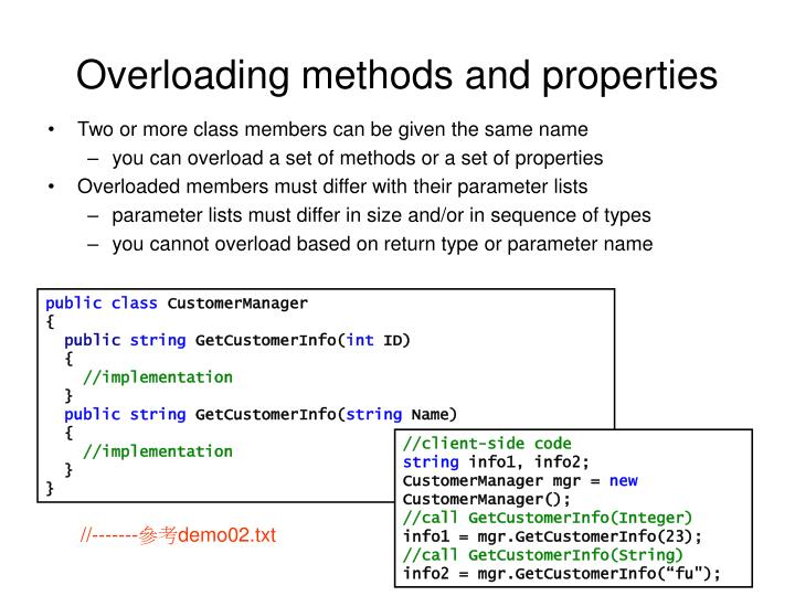 Overloading methods and properties