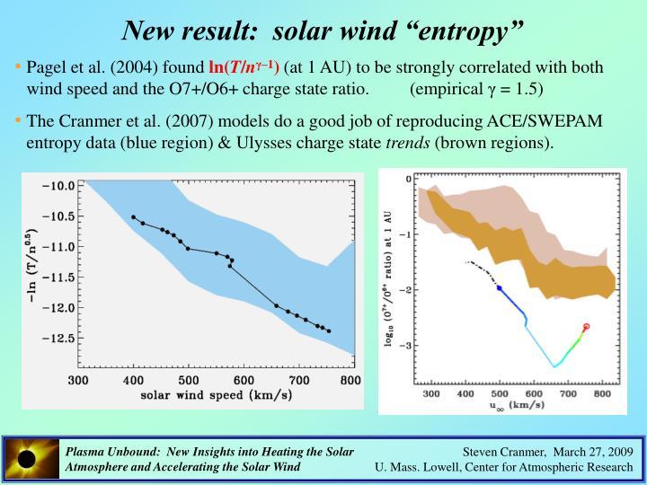"New result:  solar wind ""entropy"""