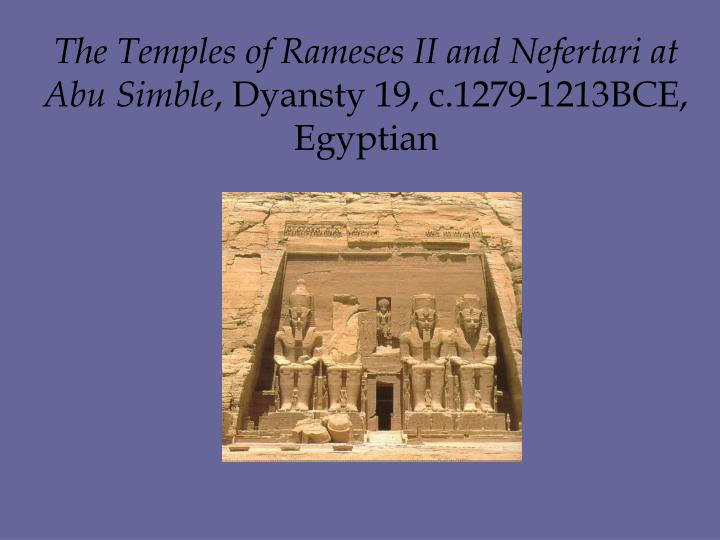 The Temples of Rameses II and Nefertari at Abu Simble