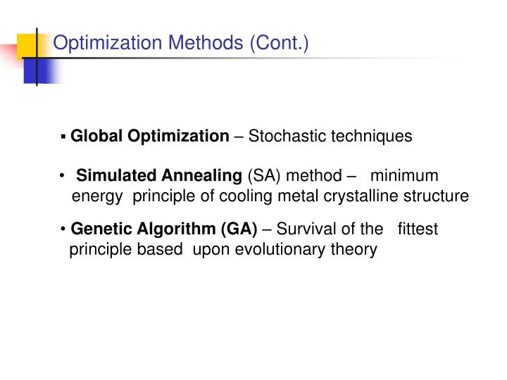 Optimization Methods (Cont.)