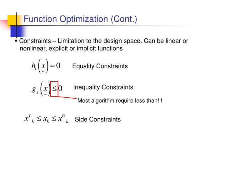 Function Optimization (Cont.)