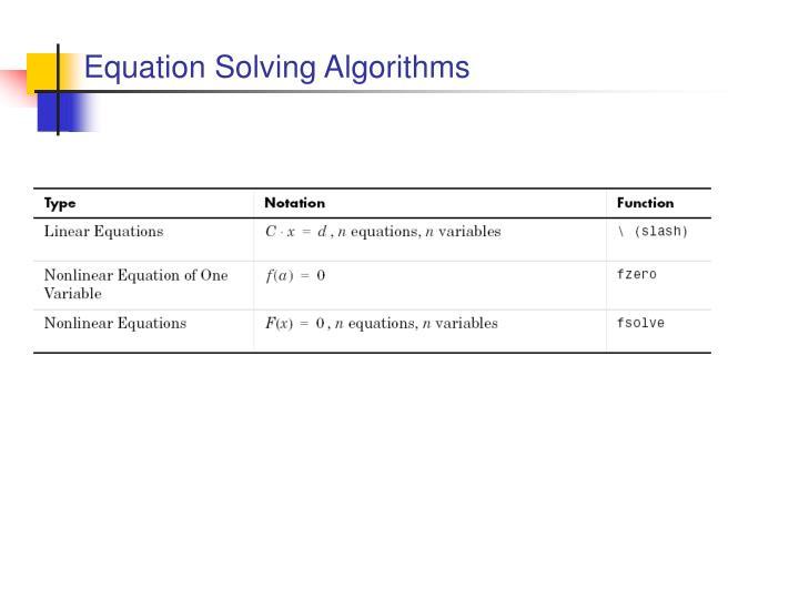 Equation Solving Algorithms