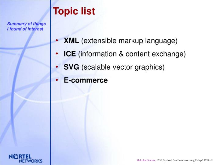 Topic list