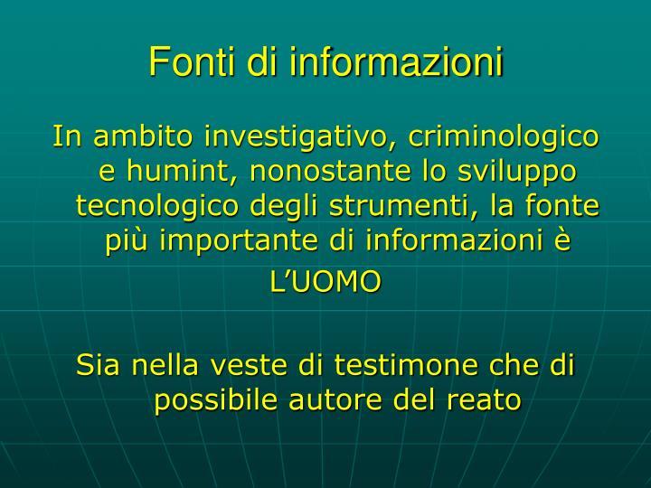 Fonti di informazioni
