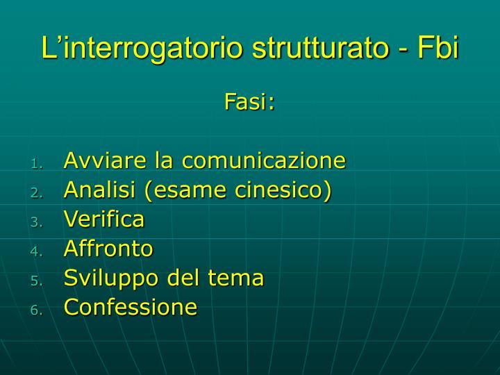 L'interrogatorio strutturato - Fbi