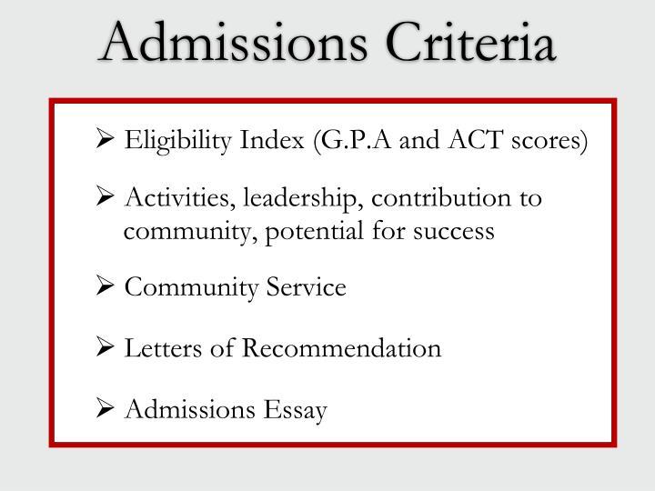 Admissions Criteria
