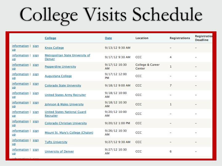 College Visits Schedule