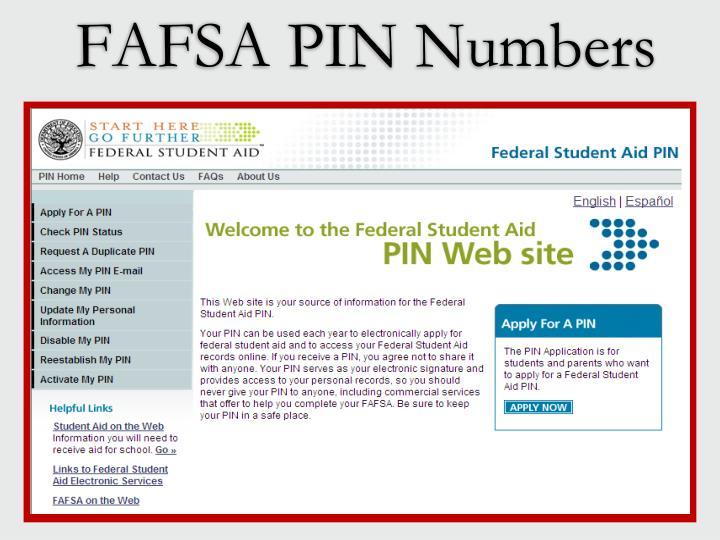 FAFSA PIN Numbers