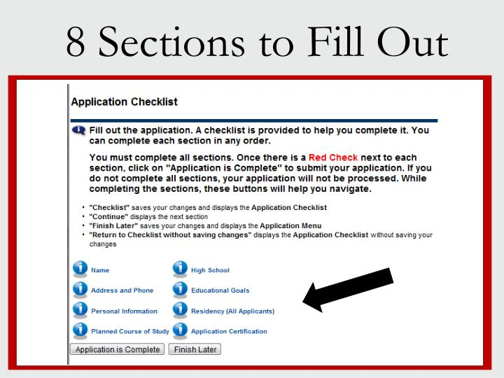 8 Sections to Fill Out