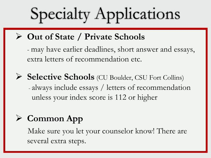 Specialty Applications