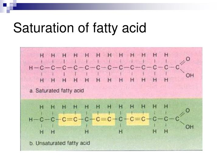 Saturation of fatty acid