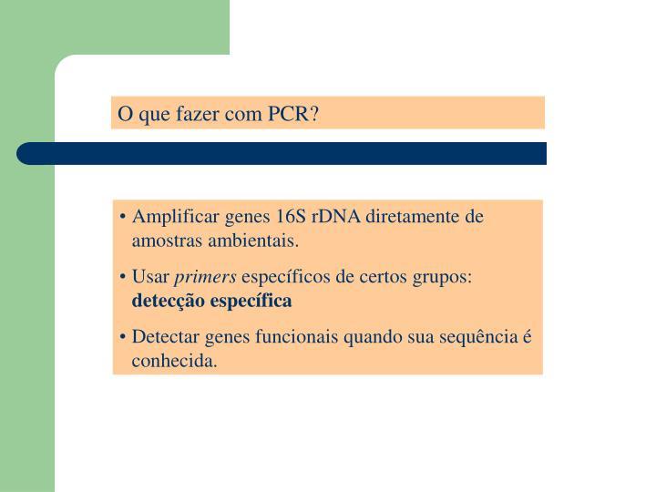 O que fazer com PCR?