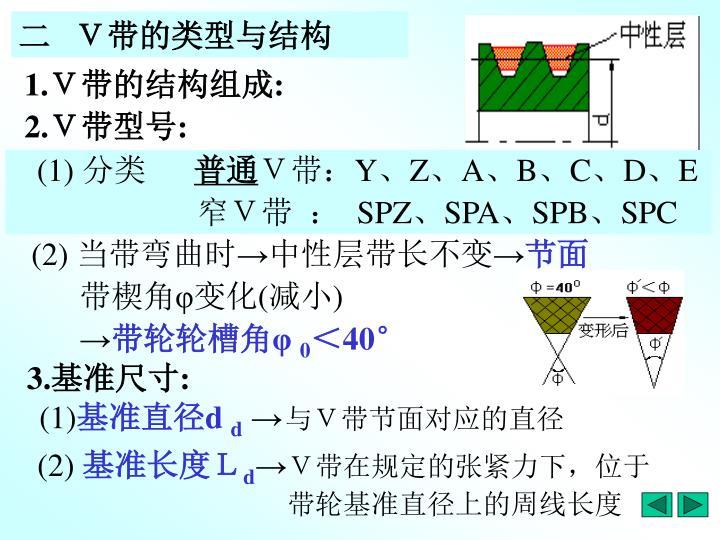 二   V带的类型与结构