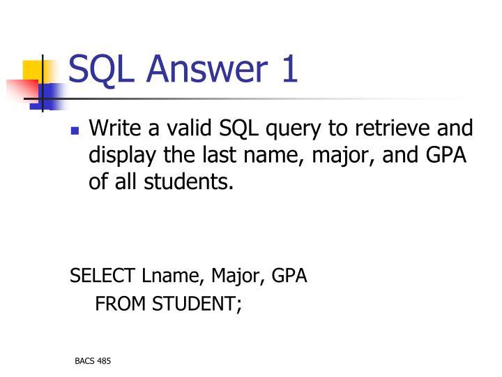 SQL Answer 1