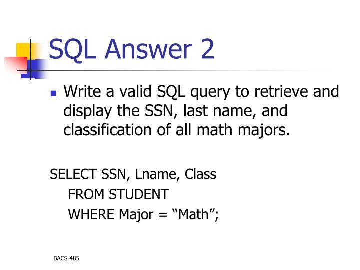 SQL Answer 2