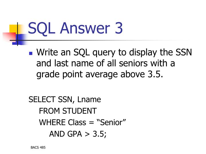 SQL Answer 3