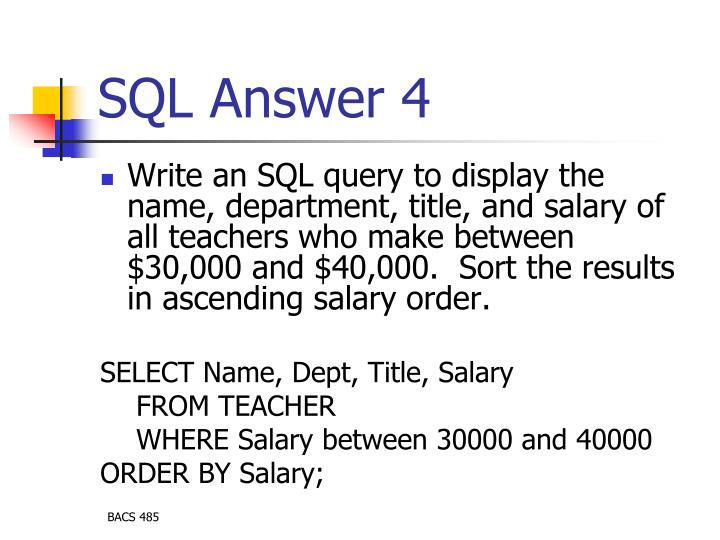 SQL Answer 4