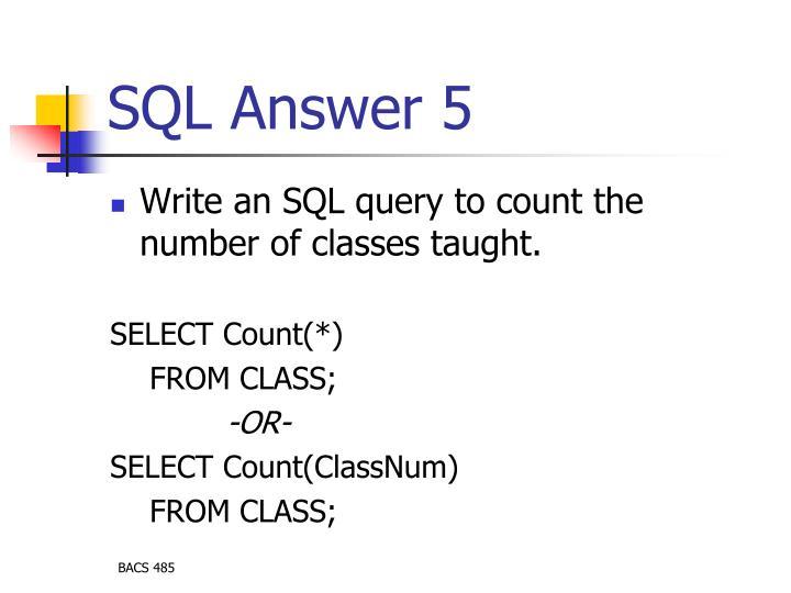 SQL Answer 5