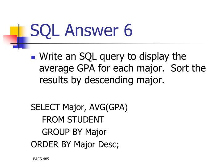 SQL Answer 6