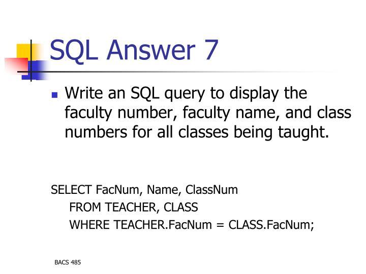 SQL Answer 7