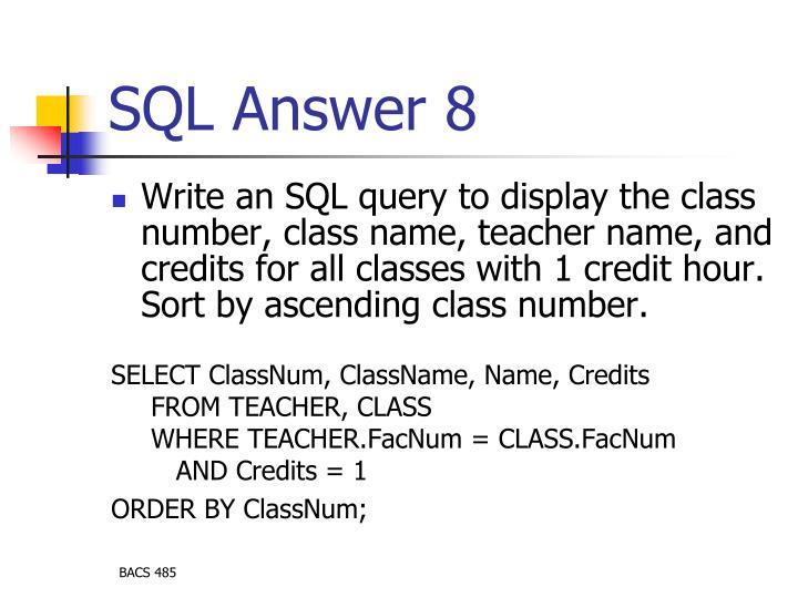 SQL Answer 8