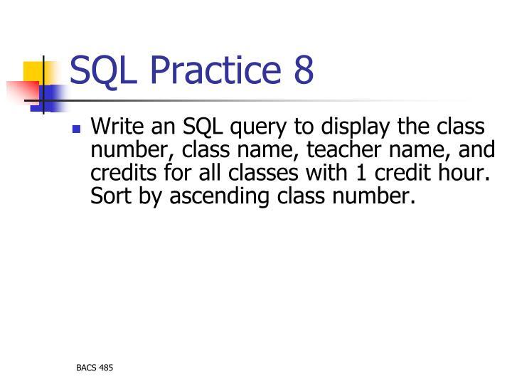 SQL Practice 8