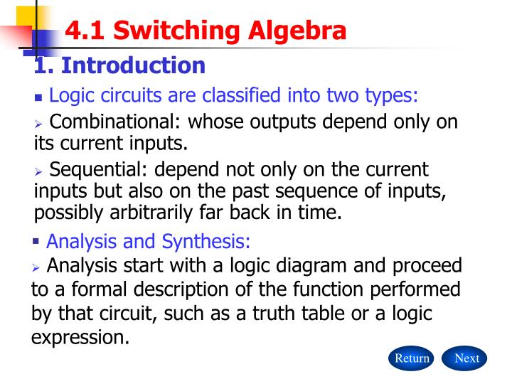 4 1 switching algebra