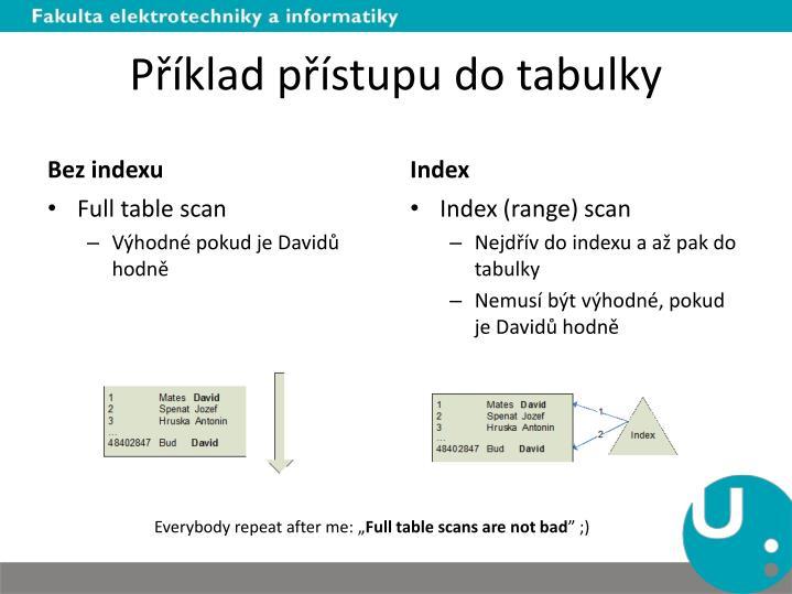 Příklad přístupu do tabulky