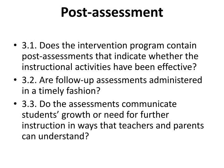 Post-assessment