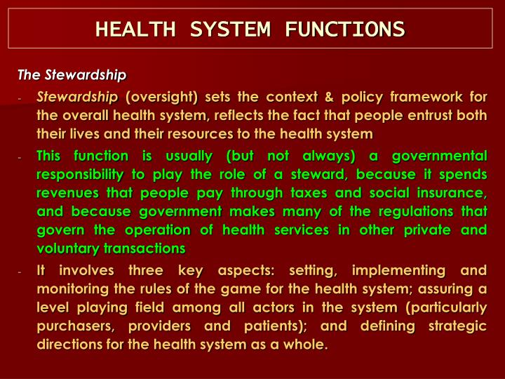 HEALTH SYSTEM FUNCTIONS