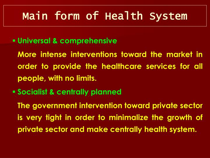 Main form of Health System