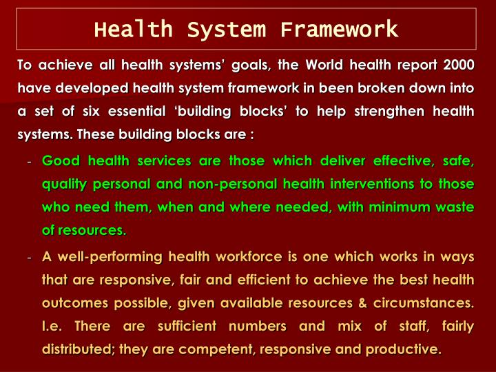 Health System Framework