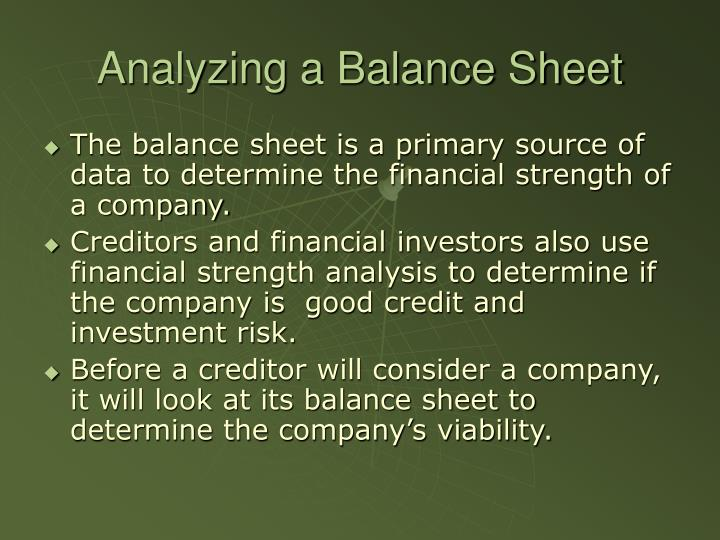 Analyzing a Balance Sheet