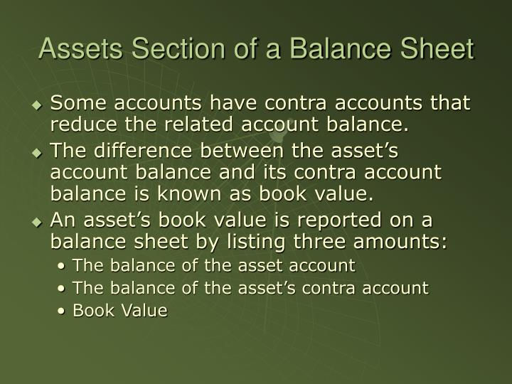 Assets Section of a Balance Sheet