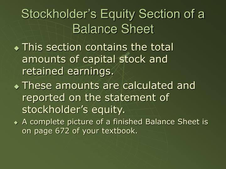 Stockholder's Equity Section of a