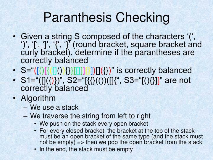 Paranthesis Checking