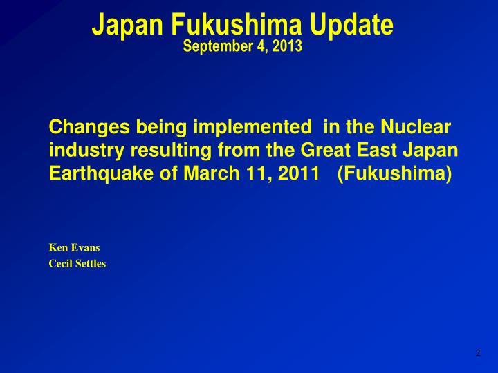 Japan Fukushima Update