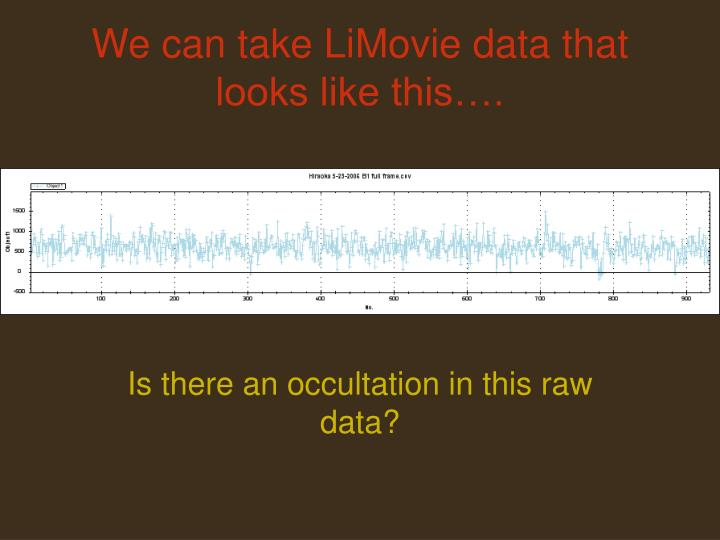 We can take LiMovie data that looks like this….