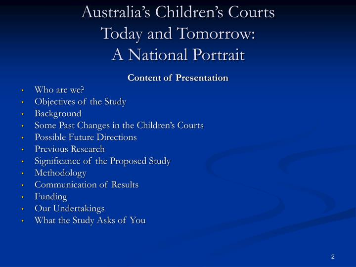 Australia s children s courts today and tomorrow a national portrait1