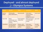 deployed and almost deployed olympus systems