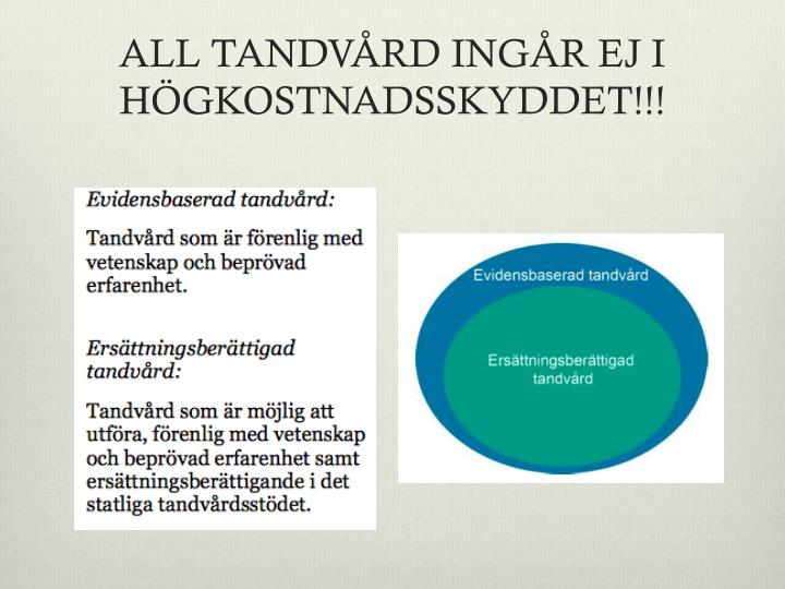 ALL TANDVÅRD INGÅR EJ I HÖGKOSTNADSSKYDDET!!!
