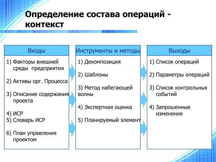 Определение состава операций - контекст