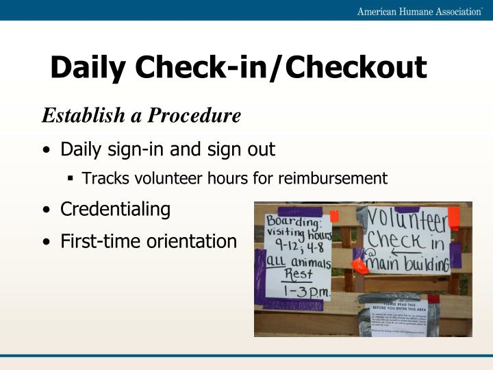 Daily Check-in/Checkout