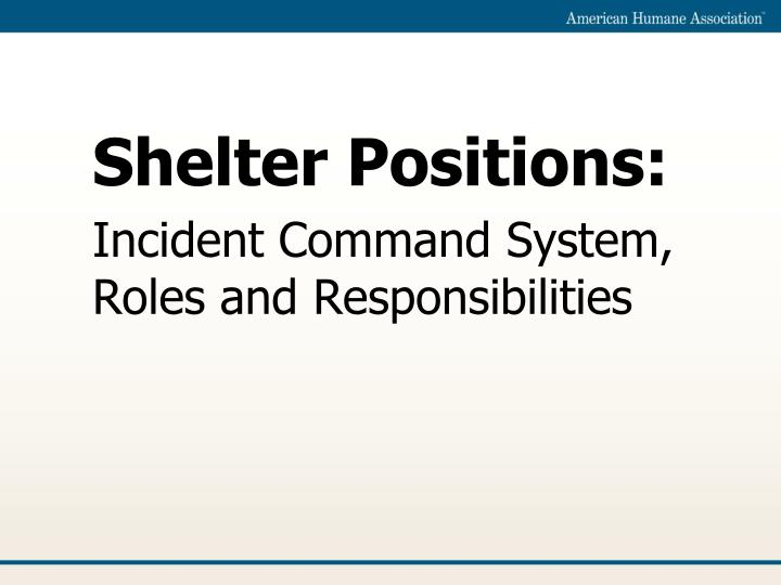 Shelter positions incident command system roles and responsibilities